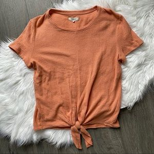 Madewell | Tie Front Textured Cotton Tee Shirt